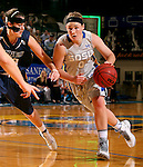 BROOKINGS, SD - OCTOBER 30:  Chynna Stevens #0 from South Dakota State University drives against Mackenzie Kenney #40 from South Dakota School of Mines in the first half of their exhibition game Thursday night at Frost Arena in Brookings. (Photo by Dave Eggen/Inertia)