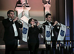 Trumpeters from the DePaul School of Music fill the Saint Vincent de Paul Parish Church with music during the annual Christmas at DePaul performance, Friday, Dec. 8, 2017, in Lincoln Park. Christmas at DePaul is the retelling of the birth of Christ in word and song. The event is offered as a gift to the community and guests are asked to donate either money or food items to support the St. Vincent de Paul Parish Food Pantry. Each year a student is selected from The Theatre School to narrate the sacred story as selections of classical holiday music celebrating the birth of Christ are performed by the DePaul Community Chorus and student musicians from the School of Music. (DePaul University/Jamie Moncrief)