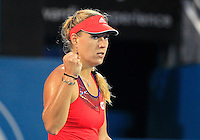 Angelique Kerber of Germany reacts after winning a point against Tsvetana Pironkova of Bulgaria during their final match at the Sydney International tennis tournament, Jan. 10, 2014.  Daniel Munoz/Viewpress IMAGE RESTRICTED TO EDITORIAL USE ONLY