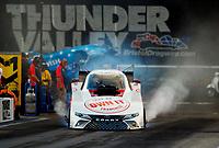 Jun 16, 2017; Bristol, TN, USA; NHRA funny car driver Cruz Pedregon during qualifying for the Thunder Valley Nationals at Bristol Dragway. Mandatory Credit: Mark J. Rebilas-USA TODAY Sports