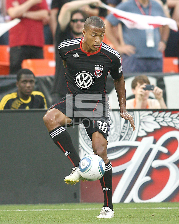 Jordan Graye #16 of D.C. United pulls in a pass during an MLS match against Real Salt Lake at RFK Stadium, on June 5 2010 in Washington DC. The game ended in a 0-0 tie.