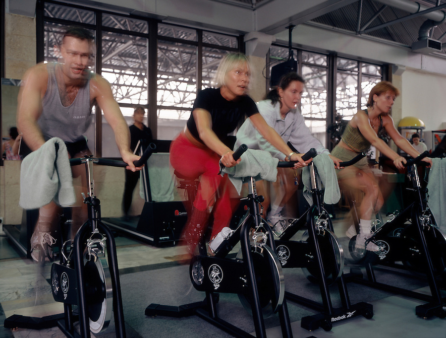 Moscow, Russia, June 1998..Clients at one of Moscow's new and expensive Western style fitness clubs.