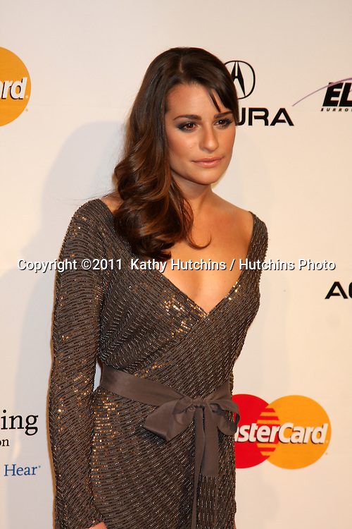 LOS ANGELES - FEB 11:  Lea Michele arrives at the Muiscares Gala Honoring Barbra Streisand at Convention Center on February 11, 2011 in Los Angeles, CA