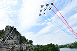 The French Acrobatic Team fly by during Stage 19 of the 104th edition of the Tour de France 2017, running 222.5km from Embrun to Salon-de-Provence, France. 21st July 2017.<br /> Picture: ASO/Alex Broadway | Cyclefile<br /> <br /> <br /> All photos usage must carry mandatory copyright credit (&copy; Cyclefile | ASO/Alex Broadway)