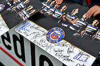 A general view of autographs from the Bath Rugby squad. Bath Rugby Captain's Run on October 30, 2015 at the Recreation Ground in Bath, England. Photo by: Patrick Khachfe / Onside Images