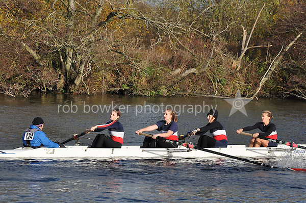 124 .COX-Eves .W.IM3.4+ .Oxford City. Wallingford Head of the River. Sunday 27 November 2011. 4250 metres upstream on the Thames from Moulsford railway bridge to Oxford Universitiy's Fleming Boathouse in Wallingford. Event run by Wallingford Rowing Club..