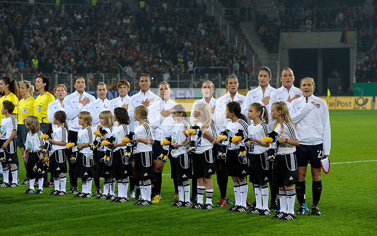 US Women's National Team Starting Eleven during the National Anthem. US Women's National Team vs Germany at Impuls Arena in Augsburg, Germany on October 27, 2009.