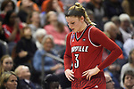 COLUMBUS, OH - MARCH 30: Sam Fuehring #3 of the Louisville Cardinals hangs her head as time runs out against Mississippi State during a semifinal game of the 2018 NCAA Division I Women's Basketball Final Four at Nationwide Arena in Columbus, Ohio. (Photo by Justin Tafoya/NCAA Photos via Getty Images)