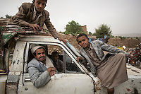 Wednesday 15 July, 2015: Villagers pose for photo in Dammaj village at the east of Sa'dah city, the stronghold of the Houthi's movement in Yemen. (Photo/Narciso Contreras)