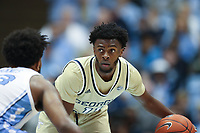 CHAPEL HILL, NC - JANUARY 4: Bubba Parham #11 of Georgia Tech dribbles the ball during a game between Georgia Tech and North Carolina at Dean E. Smith Center on January 4, 2020 in Chapel Hill, North Carolina.
