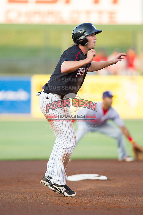 Hunter Jones (1) of the Kannapolis Intimidators takes his lead off of second base against the Hagerstown Suns at CMC-Northeast Stadium on May 31, 2014 in Kannapolis, North Carolina.  The Intimidators defeated the Suns 4-3 in game two of a double-header.  (Brian Westerholt/Four Seam Images)