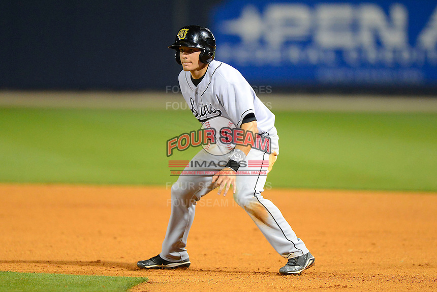 Jacksonville Suns second baseman Derek Dietrich #7 during a game against the Pensacola Blue Wahoos on April 15, 2013 at Pensacola Bayfront Stadium in Pensacola, Florida.  Jacksonville defeated Pensacola 1-0 in 11 innings.  (Mike Janes/Four Seam Images)