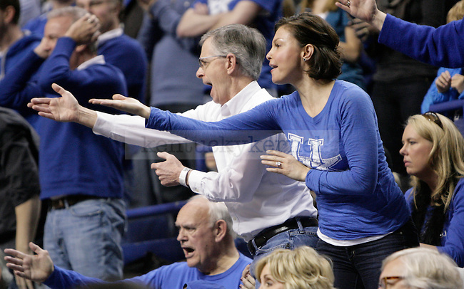 UK superfan Ashley Judd gets upset with a call during the second half of UK's game against Alabama at Rupp Arena in Lexington, Ky. Jan. 21, 2012. Photo by Brandon Goodwin | Staff
