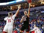 SIOUX FALLS, SD - MARCH 7: Mariah Murdie #33 of the Omaha Mavericks goes up for a layup against the South Dakota Coyotes at the 2020 Summit League Basketball Championship in Sioux Falls, SD. (Photo by Richard Carlson/Inertia)