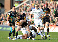 Northampton, England. Jamie Elliott of Northampton Saints tackled by Manusamoa Tuilagi of Leicester Tigers during the Northampton Saints and Leicester Tigers  during the Aviva Premiership match at Franklin's Gardens, Northampton, England on March 29, 2014