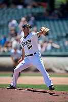 Salt Lake Bees starting pitcher Doug Fister (38) delivers a pitch to the plate against the Albuquerque Isotopes in Pacific Coast League action at Smith's Ballpark on June 11, 2017 in Salt Lake City, Utah. The Bees defeated the Isotopes 6-5. (Stephen Smith/Four Seam Images)