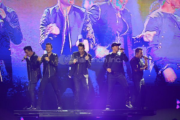 HOLLYWOOD, FL - JULY 16: Jonathan Knight, Joey McIntyre, Jordan Knight, Donnie Wahlberg and Danny Wood of New Kids On The Block perform during The Total Package Tour at Hard Rock Live at Seminole Hard Rock Hotel & Casino – Hollywood on July 16, 2017 in Miami, Florida. Credit: MPI10 / MediaPunch