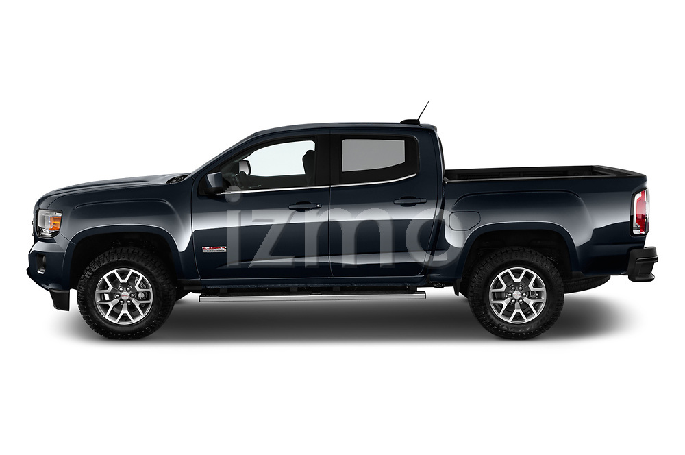 Car driver side profile view of a 2019 GMC Canyon Allterrain 4 Door Pick Up
