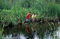 FA27-121z  Children exploring at pond