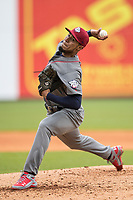 Lehigh Valley IronPigs pitcher Ricardo Pinto (40) delivers a pitch to the plate against the Toledo Mud Hens during the International League baseball game on April 30, 2017 at Fifth Third Field in Toledo, Ohio. Toledo defeated Lehigh Valley 6-4. (Andrew Woolley/Four Seam Images)