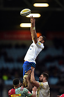 Taulupe Faletau of Bath Rugby looks on during a break in play. Aviva Premiership match, between Harlequins and Bath Rugby on March 2, 2018 at the Twickenham Stoop in London, England. Photo by: Patrick Khachfe / Onside Images
