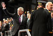 Outgoing United States Secretary of Defense Chuck Hagel waves goodbye at the conclusion of an Armed Forces Farewell Tribute, January 28, 2015 at Joint Base Myer-Henderson Hall, Virginia. Deputy Secretary Ashton Carter, who has served under Leon Panetta and Hagel is expected to be easily approved by the Senate to succeed Hagel.<br /> Credit: Mike Theiler / Pool via CNP