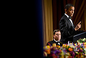 United States President Barack Obama delivers remarks at the 2012 White House Correspondents Association Dinner held at the Washington Hilton Hotel in Washington, D.C. on Saturday, April 28, 2012. .Credit: Kristoffer Tripplaar  / Pool via CNP