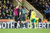 David Luiz of Chelsea gets a yellow card from Match Referee Stuart Attwell during Norwich City vs Chelsea, Emirates FA Cup Football at Carrow Road on 6th January 2018