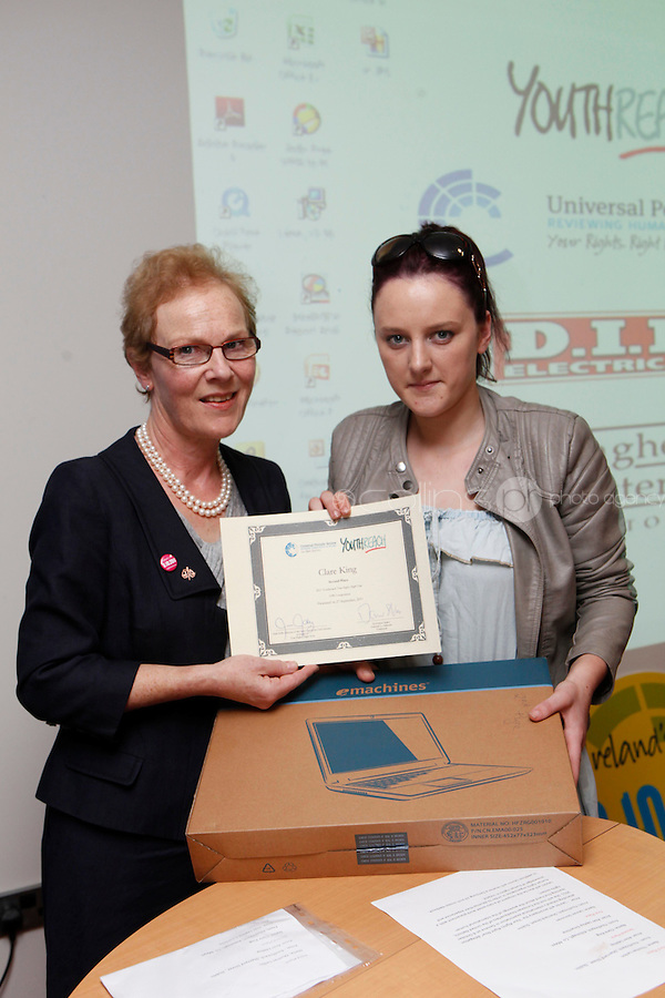 "***NO FEE PIC***.27/09/2011.(L to r) Noeline Blackwell Director of Flac ( Free Legal Advice Centre) & Clare King from Kiltimagh who recieved 2nd prize for her work on Social Injustice in the Irish Welfare System.During a "" Your Rights Right now""/ Youthreach competition prizegiving award ceremony at the Office of the Ombudsman for Children, Dublin. The competition called on young Youthreach students to express themselves about the important human rights issues affecting their lives..Photo: Gareth Chaney Collins"