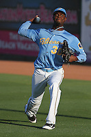Myrtle Beach Pelicans pitcher Roman Mendez #30 warming up in the outfield before a game against the Frederick Keys at Tickerreturn.com Field at Pelicans Ballpark on April 24, 2012 in Myrtle Beach, South Carolina. Frederick defeated Myrtle Beach by the score of 8-3. (Robert Gurganus/Four Seam Images)