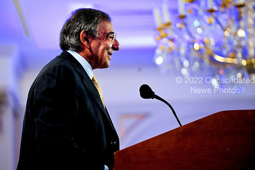United States Secretary Of Defense Leon Panetta delivers remarks at an event hosted by the Carnegie Europe Center, part of the Carnegie Endowment for International Peace, at the Conrad Hotel in Brussels, Belgium, October 5, 2011.  Panetta is in Belgium meeting with NATO counterparts and defense leaders to discuss lessons learned during NATO operations in Libya and Afghanistan and the future defense needs of the alliance. .Mandatory Credit: Jacob N. Bailey / USAF via CNP