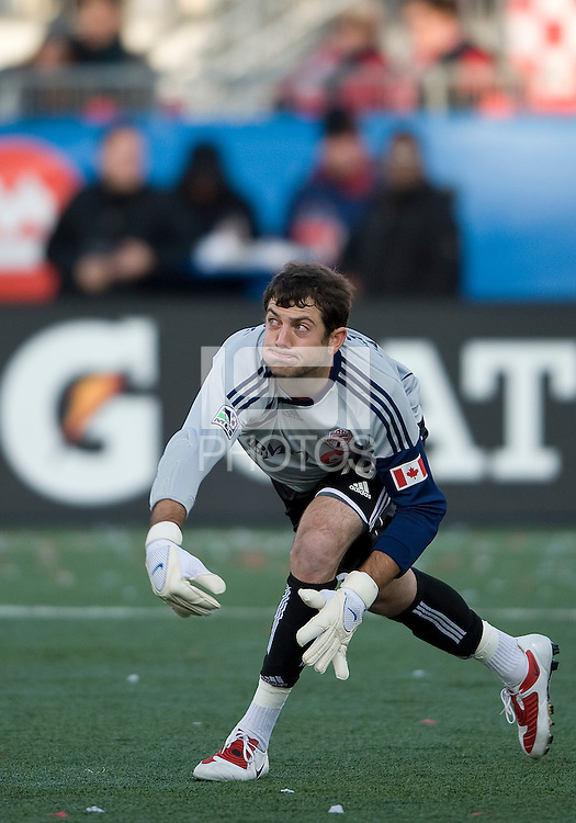 17 October 2009: Toronto FC goalkeeper Brian Edwards # 18 in action during an MLS game between Toronto FC and Real Salt Lake at BMO Field in Toronto..Toronto FC won 1-0..