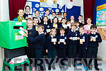 School teacher, Louise Brassil far left and Enviromental Officer with Kerry County Council, Oonagh O'Connor, far Rt with students from Blennerville National school launching their PostCard campaign last Wednesday December 5th, to all local shops asking them to reduce the use of plastic packaging.