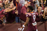 Landover, MD - SEPT 3, 2017: Virginia Tech Hokies defensive back Khalil Ladler (9) celebrates with the fans folling Virginia Tech's win against West Virginia at FedEx Field in Landover, MD. (Photo by Phil Peters/Media Images International)