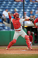Palm Beach Cardinals catcher Jeremy Martinez (13) throws down to second base during a game against the Clearwater Threshers on April 14, 2017 at Spectrum Field in Clearwater, Florida.  Clearwater defeated Palm Beach 6-2.  (Mike Janes/Four Seam Images)