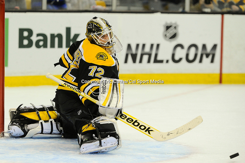January 2, 2014 - Boston, Massachusetts, U.S. - Boston Bruins goalie Niklas Svedberg (72) makes a save during the NHL game between the Nashville Predators and the Boston Bruins held at TD Garden in Boston Massachusetts.   Boston defeated Nashville 3-2 in overtime. Eric Canha/CSM