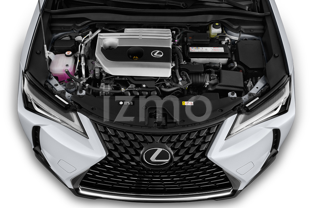 Car Stock 2019 Lexus UX 200 5 Door SUV Engine  high angle detail view