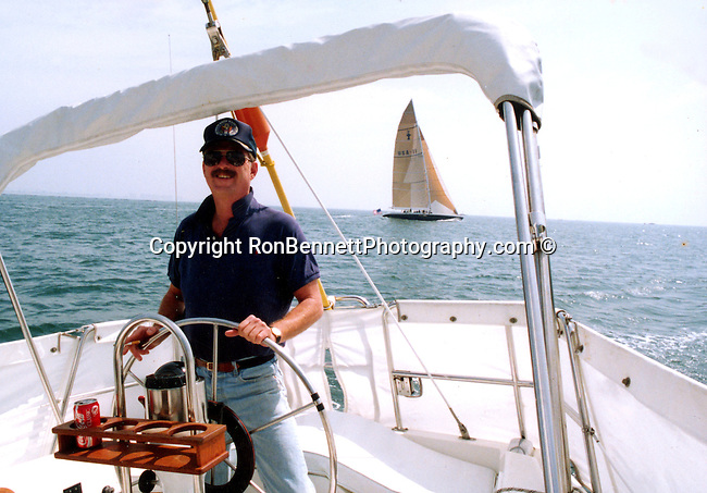 "Ron Bennett Sails the Pacific Ocean in his 36 Catalina ""Blown Away"" background is America's Cup Stars and Stripes, Fine Art Photography by Ron Bennett, Fine Art, Fine Art photography, Art Photography, Copyright RonBennettPhotography.com ©"