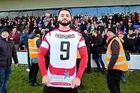 Louie Theophanous of Kingstonian proudly shows his shirt off after the game during Macclesfield Town vs Kingstonian, Emirates FA Cup Football at the Moss Rose Stadium on 10th November 2019
