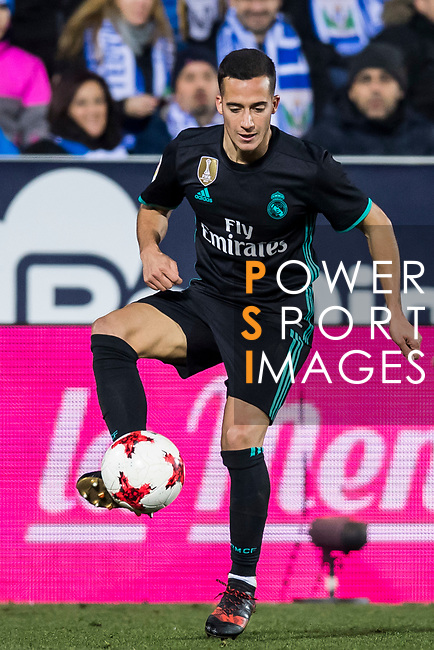Lucas Vazquez (L) of Real Madrid is tackled by Diego Rico Salguero of CD Leganes during the Copa del Rey 2017-18 match between CD Leganes and Real Madrid at Estadio Municipal Butarque on 18 January 2018 in Leganes, Spain. Photo by Diego Gonzalez / Power Sport Images