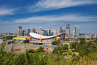 Calgary skyline showing Saddledome<br /> Calgary<br /> Alberta<br /> Canada