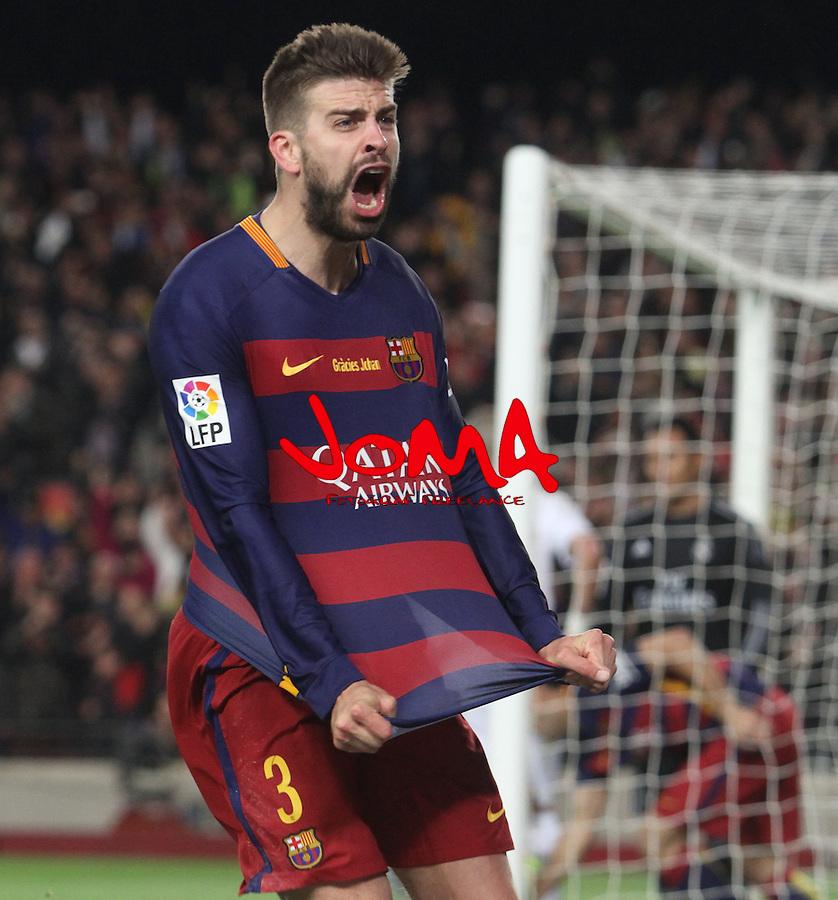 02.04.2016 Barcelona. La Liga day 31. Game between FC Barcelona agaisnt Real Madrid at Camp Nou. Picture shor Gerard pique after score