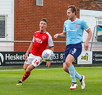 Fleetwood Town's Chris Long battles with Accrington Stanley's Mark Hughes<br /> <br /> Photographer Alex Dodd/CameraSport<br /> <br /> The EFL Sky Bet League One - Fleetwood Town v Accrington Stanley - Saturday 15th September 2018  - Highbury Stadium - Fleetwood<br /> <br /> World Copyright &copy; 2018 CameraSport. All rights reserved. 43 Linden Ave. Countesthorpe. Leicester. England. LE8 5PG - Tel: +44 (0) 116 277 4147 - admin@camerasport.com - www.camerasport.com