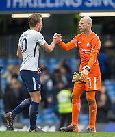Goalkeeper Wilfredo Caballero of Chelsea & Harry Kane of Spurs at full time during the Premier League match between Chelsea and Tottenham Hotspur at Stamford Bridge, London, England on 1 April 2018. Photo by Andy Rowland.