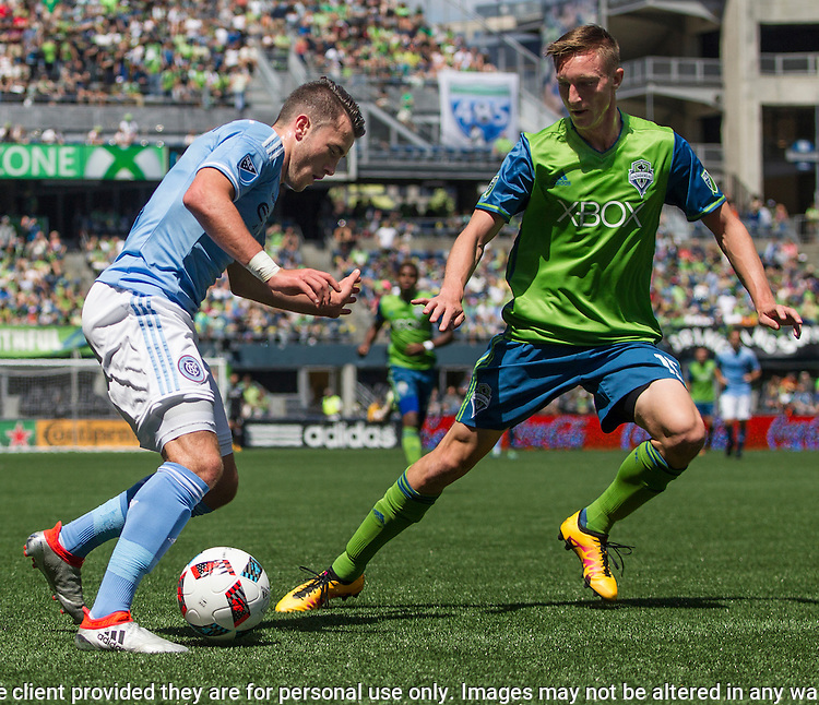 Seattle Sounders vs. New York City FC during an MLS match on June 25, 2016 in Seattle, Washington.  Seattle Sounders lost the New York City 0-2. Jim Bryant Photo. ©2016. All Rights Reserved.