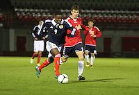 Islam Feruz in the Scotland v Armenia UEFA European Under-19 Championship Qualifying Round match at New Douglas Park, Hamilton on 9.10.12.