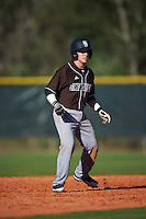 St. Bonaventure Bonnies second baseman Jared Baldinelli (6) leads off second base during a game against the Dartmouth Big Green on February 25, 2017 at North Charlotte Regional Park in Port Charlotte, Florida.  St. Bonaventure defeated Dartmouth 8-7.  (Mike Janes/Four Seam Images)