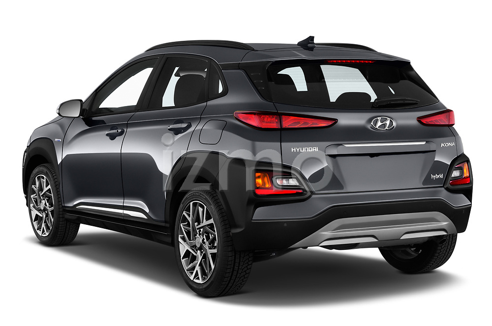 Car pictures of rear three quarter view of a 2020 Hyundai Kona Hybrid Sky 5 Door SUV angular rear