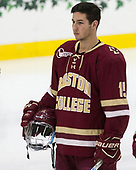 JD Dudek (BC - 15) - The Harvard University Crimson defeated the visiting Boston College Eagles 5-2 on Friday, November 18, 2016, at the Bright-Landry Hockey Center in Boston, Massachusetts.
