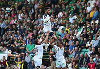 Clermont Auvergne's Sitaleki Timani wins a line-out ball<br /> <br /> Photographer Stephen White/CameraSport<br /> <br /> European Rugby Challenge Cup - Northampton Saints v Clermont Auvergne - Saturday 13th October 2018 - Franklin's Gardens - Northampton<br /> <br /> World Copyright © 2018 CameraSport. All rights reserved. 43 Linden Ave. Countesthorpe. Leicester. England. LE8 5PG - Tel: +44 (0) 116 277 4147 - admin@camerasport.com - www.camerasport.com
